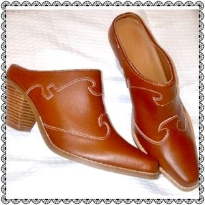 Boot mules, brown leather, western style, sz 6
